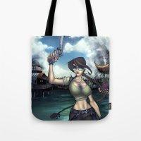 lara croft Tote Bags featuring Hello Ms. Croft by Quetzal Revolver