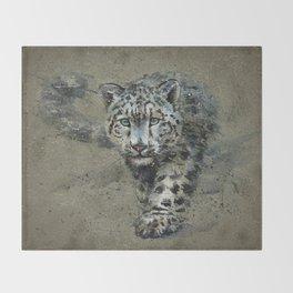 Snow leopard background Throw Blanket