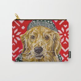 Golden Retriever in a Hat and Scarf Carry-All Pouch