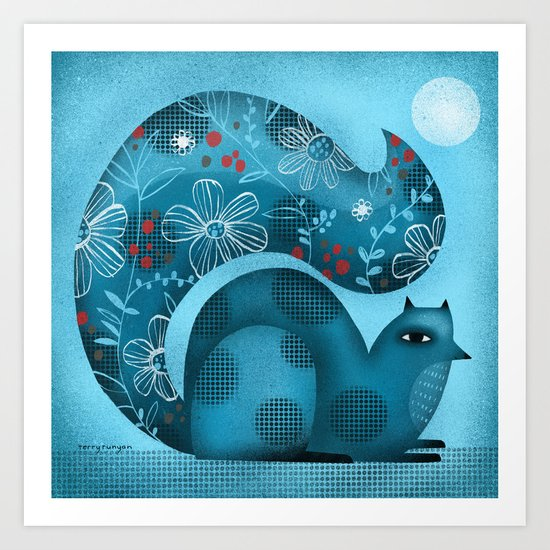 BLUE SQUIRREL Art Print