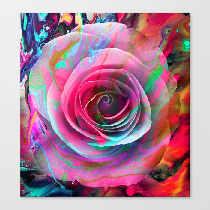Marble Colored Rose Canvas Print