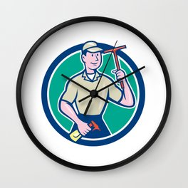 Window Washer Cleaner Squeegee Cartoon Wall Clock