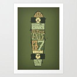 Skateboard Typography - Green Art Print
