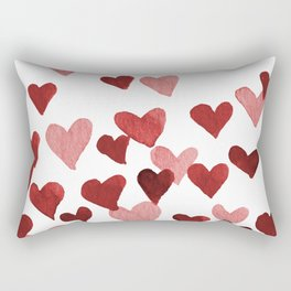 Valentine's Day Watercolor Hearts - red Rectangular Pillow