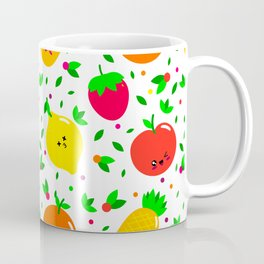 Cute & Whimsical Fruit Pattern with Kawaii Faces Coffee Mug