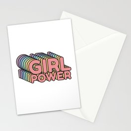 Girl Power grl pwr Retro Stationery Cards