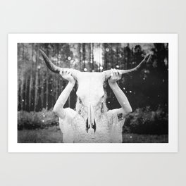 Bull Skull Tribal Woman Vintage Art Print