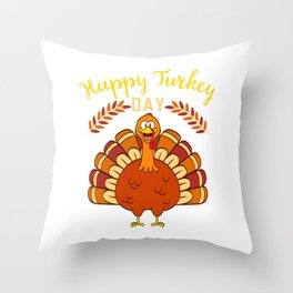 Happy Turkey Day Thanksgiving Save A Turkey Awareness T-shirt Design Veggy Vegetarian Vegan  Throw Pillow