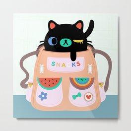 Cat Snack Backpack Metal Print