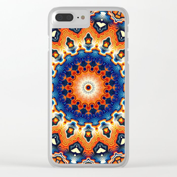 Geometric Orange And Blue Symmetry Clear iPhone Case