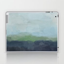 Navy Teal Aqua Sky Blue Green Abstract Wall Art, Painting Art, Nature Horizon, Modern Wall Laptop & iPad Skin