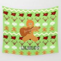 ed sheeran Wall Tapestries featuring Gingerbread Ed II by Laura Maria Designs