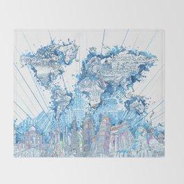 world map city skyline 5 Throw Blanket