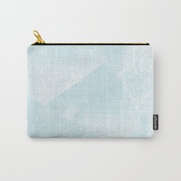 Light Blue and White Geometric Triangles Lino-Textured Print Carry-All Pouch