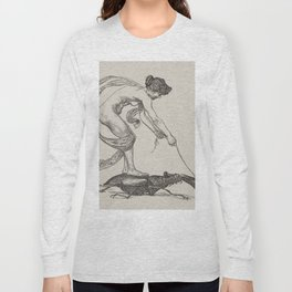 Nude Classical Woman Riding a Beetle 1895-1896 Long Sleeve T-shirt