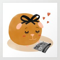guinea pig Art Prints featuring Guinea Pig Portrait 1 by Nadia Keifens