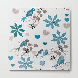 Birds in Blue Metal Print