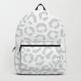 Elegant White Gray Leopard Cheetah Animal Print Backpack