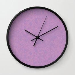 Pink leaf pattern Wall Clock