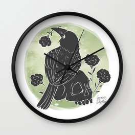 Crow and Skull Wall Clock
