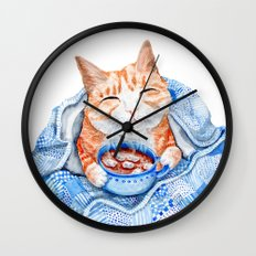 Happy Cat Drinking Hot Chocolate Wall Clock