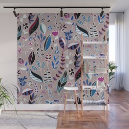 Vibrant Nature Doodle Wall Mural