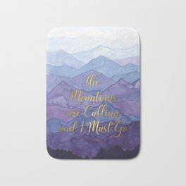 Blue Watercolor Mountains Calling Bath Mat