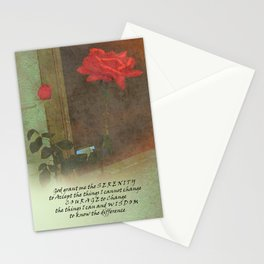 Serenity Prayer Rose and Door Stationery Cards