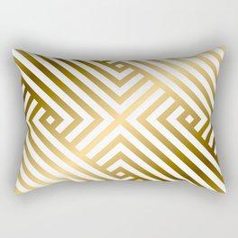 Art Deco Gold and Alabaster White Geometric Pattern Rectangular Pillow