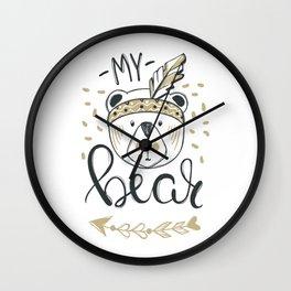 My bear vintage ethnic bear face - Funny hand drawn illustration. Scandinavian style Wall Clock