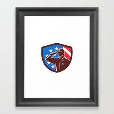 American Soldier Saluting USA Flag Crest Retro Framed Art Print