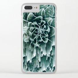 Succulent Glitches Clear iPhone Case