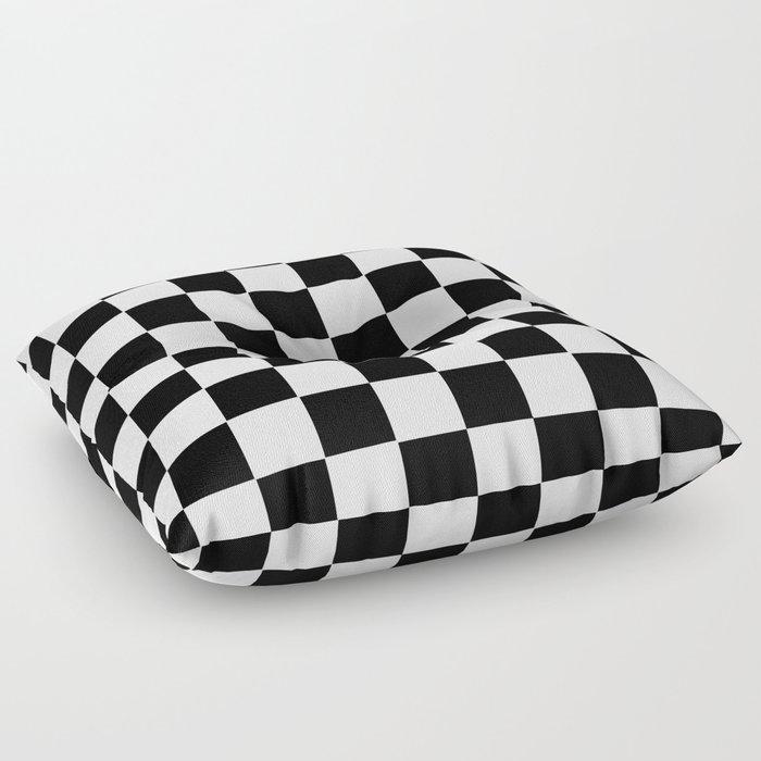 Checker Cross Squares Black & White Floor Pillow