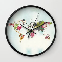 World Map Art Print, Poster, Tropical Home Decor, Floral, Teal Blue Wall Clock