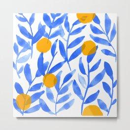 Tropical Lemons / Blue and Yellow Refreshing Lemon Print / Abstract Lemon Vibes / Summer Lemons Metal Print