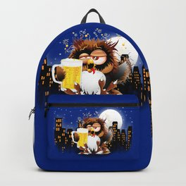 Drunk Owl with Beer Funny Character Backpack