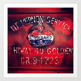 Vintage Truck Gas Station Sign Art Print