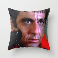 scarface Throw Pillows featuring Al Pacino @ Scarface #1 by Gabriel T Toro