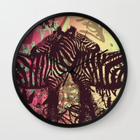 zebra Wall Clocks featuring ZEBRA by Nechifor Ionut