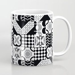 Black & White Mixed Square Tiles Patterns Coffee Mug