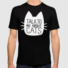 Talk to Me About Cats (white) LARGE Black Mens Fitted Tee