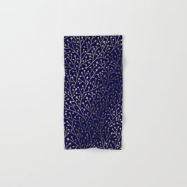 Gold Berry Branches on Navy Hand & Bath Towel