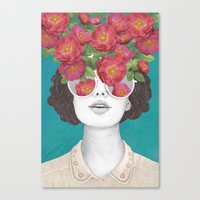 Canvas Prints featuring The optimist // rose tinted glasses by Laura Graves