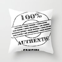 fangirl Throw Pillows featuring Authentic Fangirl by Off The Path Creative