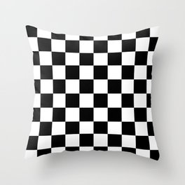 Black & White Checker Checkerboard Checkers Throw Pillow