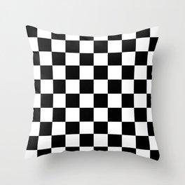 Black & White Checker Checkerboard Checkers Deko-Kissen