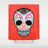 mexican Shower Curtains featuring Mexican Skull by Blank & Vøid