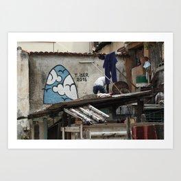 Cuban Streetart - Blue Sky Art Print