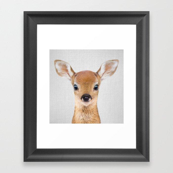 Baby Deer - Colorful Gerahmter Kunstdruck