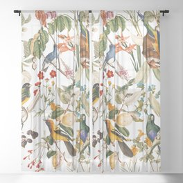 Floral and Birds XXXII Sheer Curtain